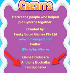 Credits screen from Syncroz an IOS an Android mobile app